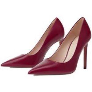 New NWOB Zara Fuchsia Pink Leather Stiletto Pumps